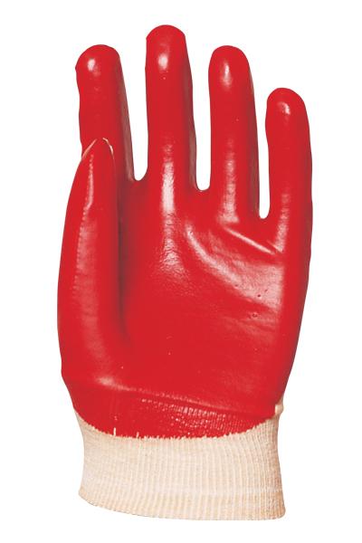 Rukavica pamučna impregnirana PVC-om crvena kratka