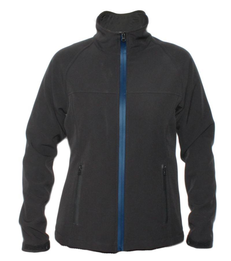 Softshell jakna ROLAND ženska,crna sa azur plavim zatvaračem