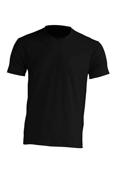 Majica t-shirt muška na V-izrez crna