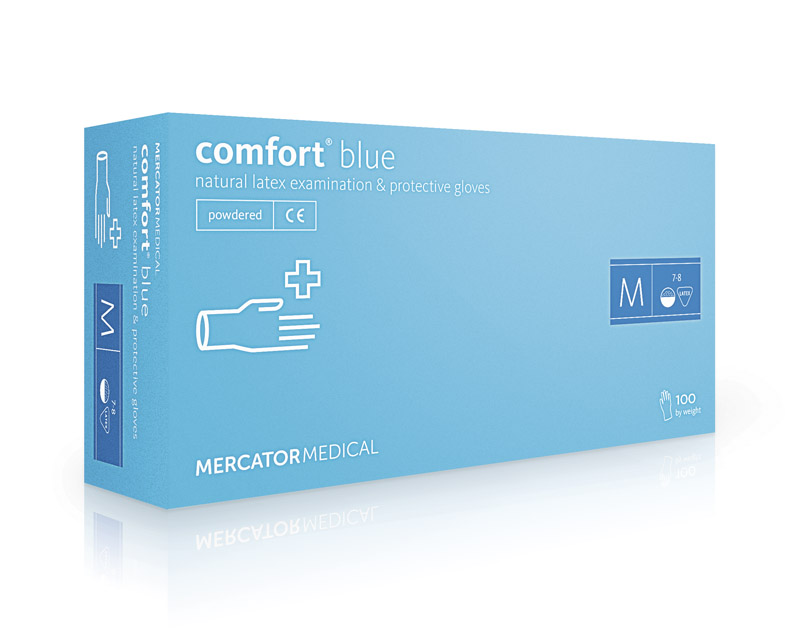 Rukavice jednokratne Latex s puderom COMFORT Blue